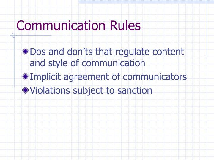 Communication Rules