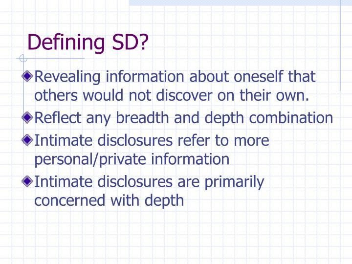 Defining SD?