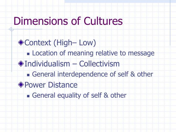 Dimensions of Cultures