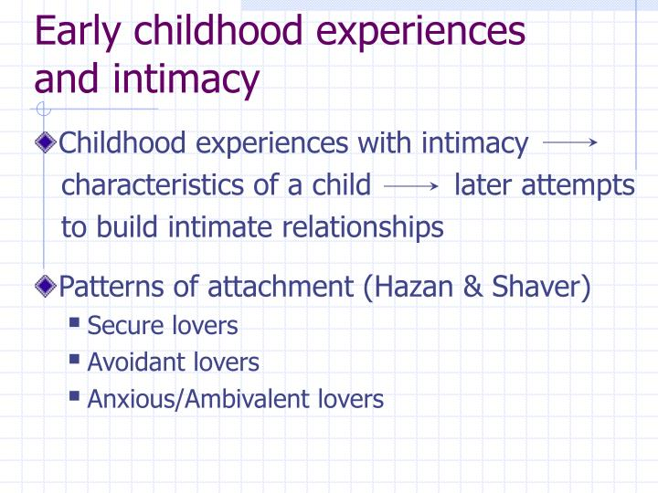 Early childhood experiences and intimacy