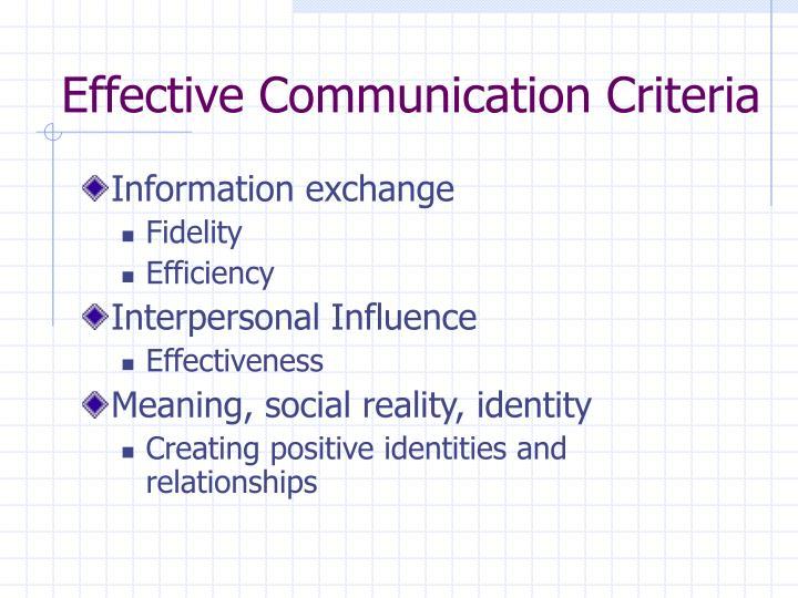 Effective Communication Criteria