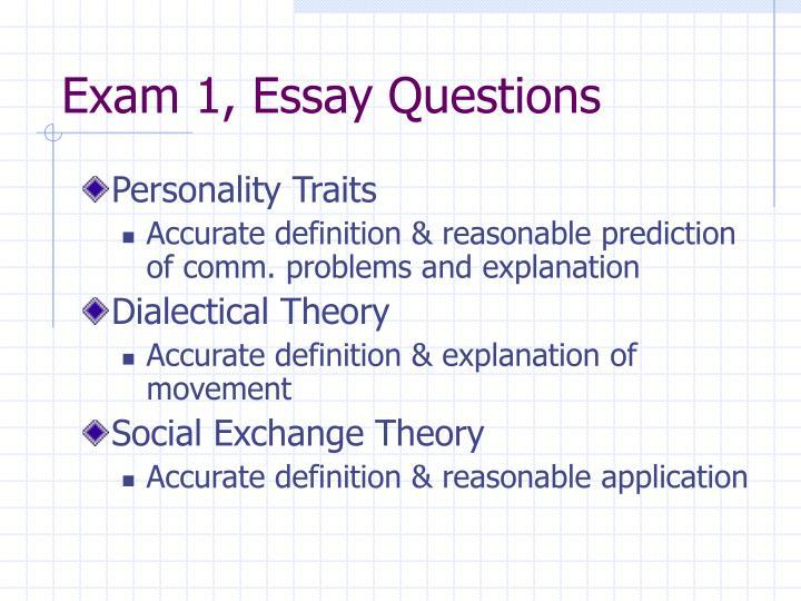 Exam 1, Essay Questions