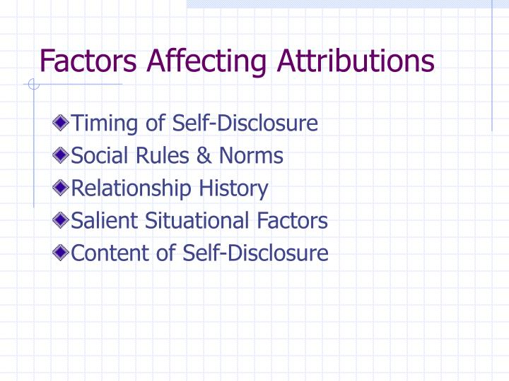 Factors Affecting Attributions