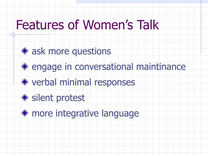 Features of Women's Talk