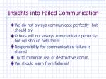 insights into failed communication