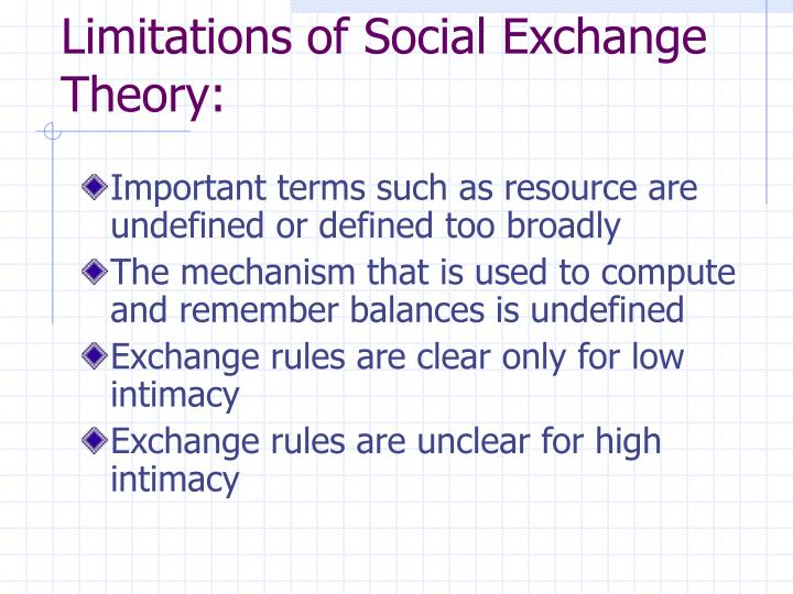 Limitations of Social Exchange Theory: