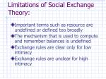 limitations of social exchange theory