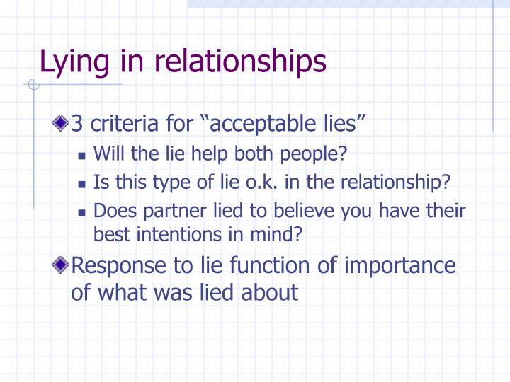 Lying in relationships