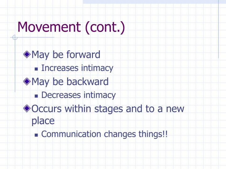 Movement (cont.)