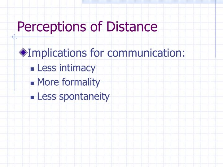 Perceptions of Distance