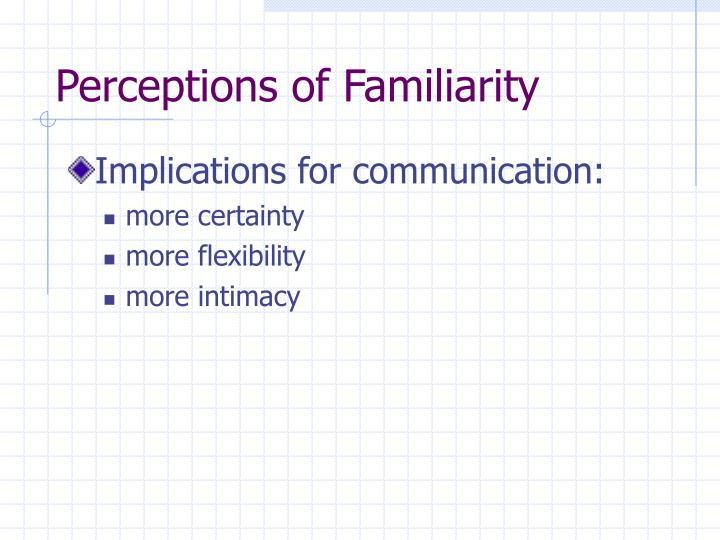 Perceptions of Familiarity