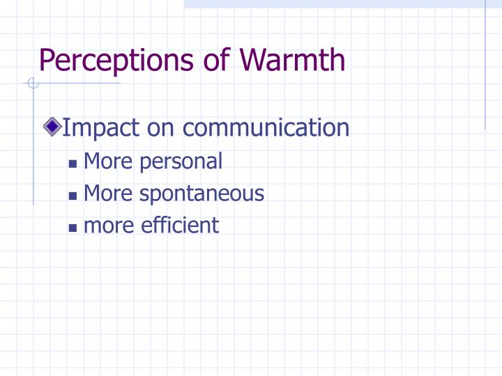 Perceptions of Warmth