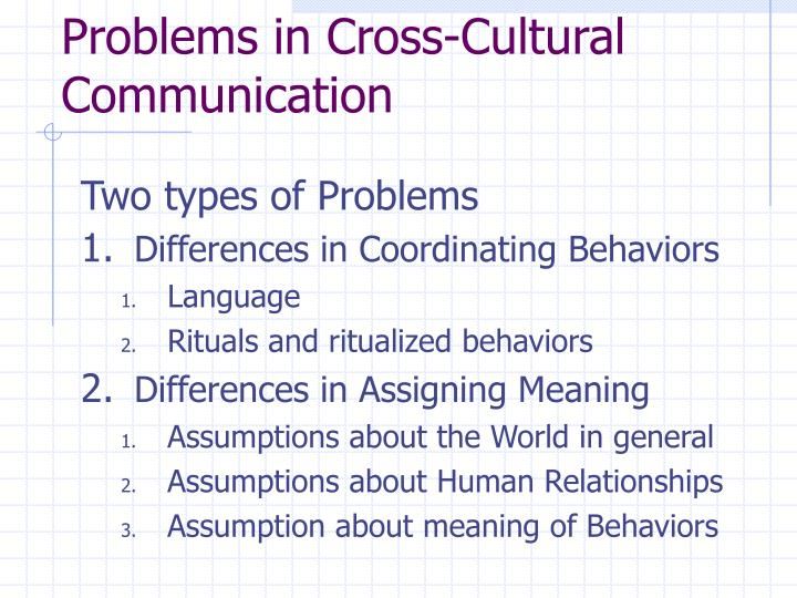 Problems in Cross-Cultural Communication