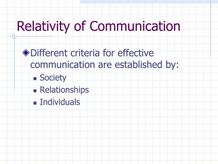 Relativity of Communication