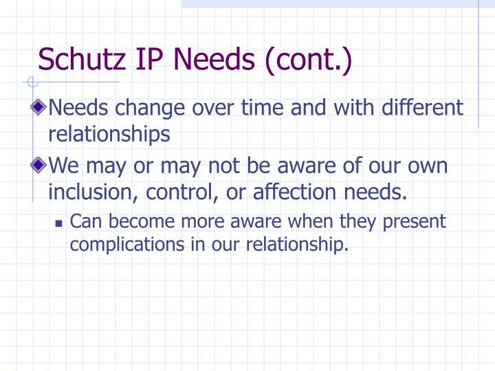 Schutz IP Needs (cont.)