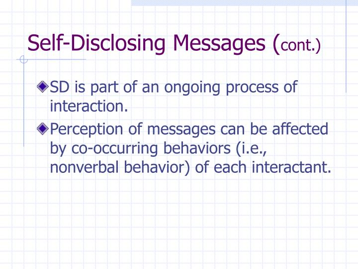 Self-Disclosing Messages (
