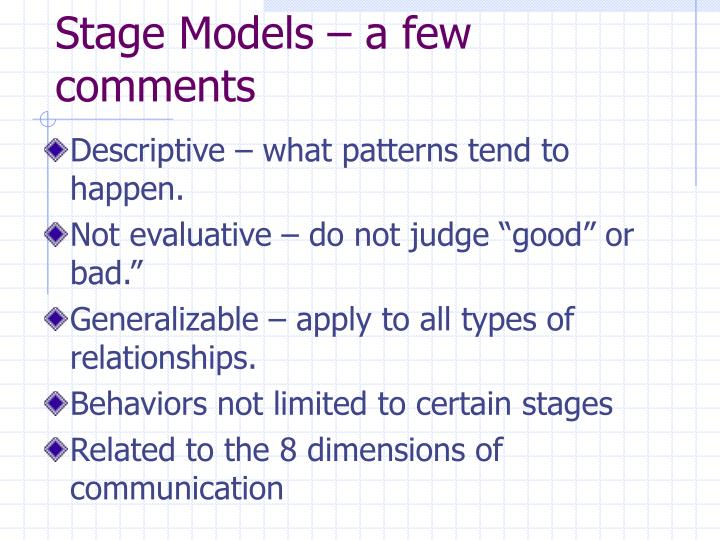 Stage Models – a few comments