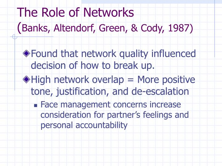 The Role of Networks