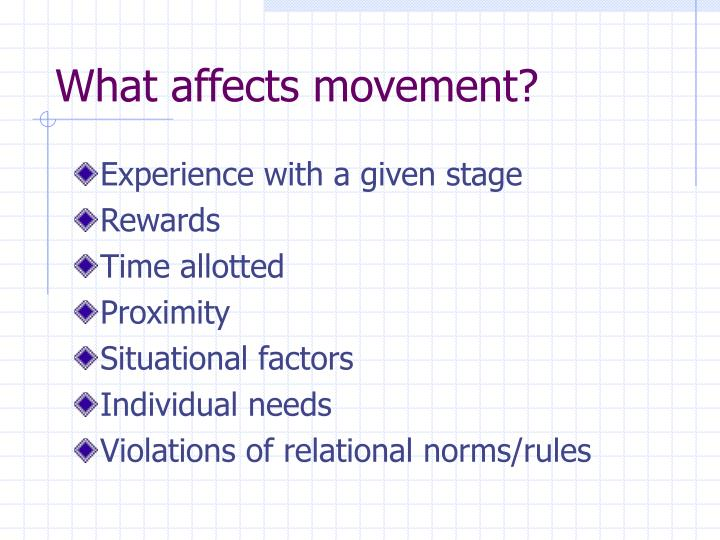 What affects movement?