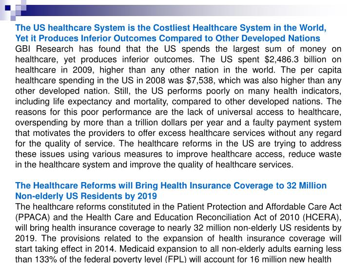 The US healthcare System is the Costliest Healthcare System in the World,