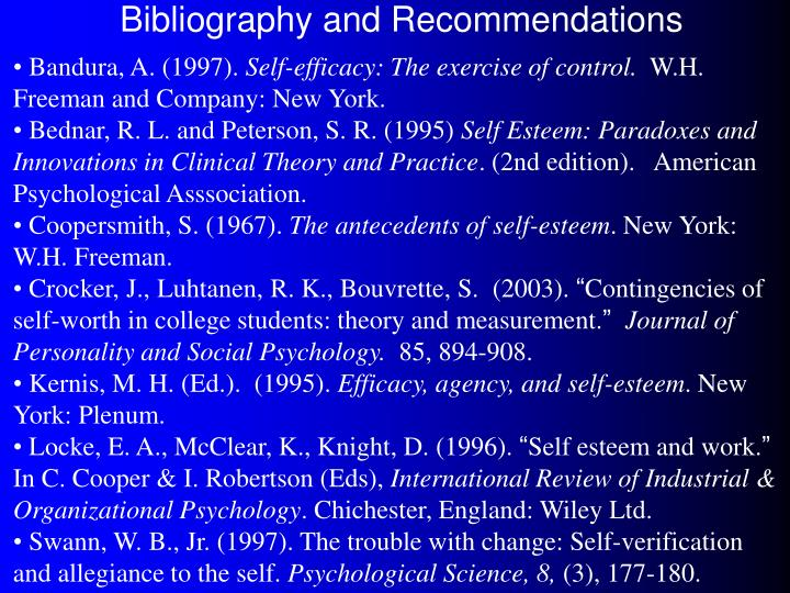 Bibliography and Recommendations