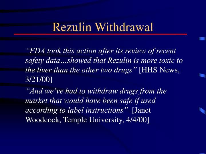 Rezulin Withdrawal