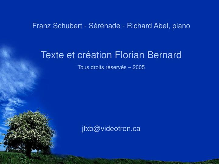 Franz Schubert - Sérénade - Richard Abel, piano