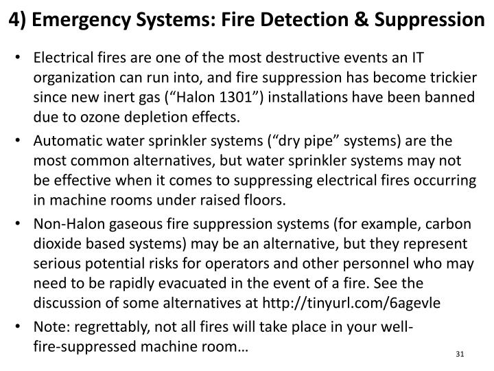 4) Emergency Systems: Fire Detection & Suppression