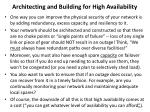 architecting and building for high availability