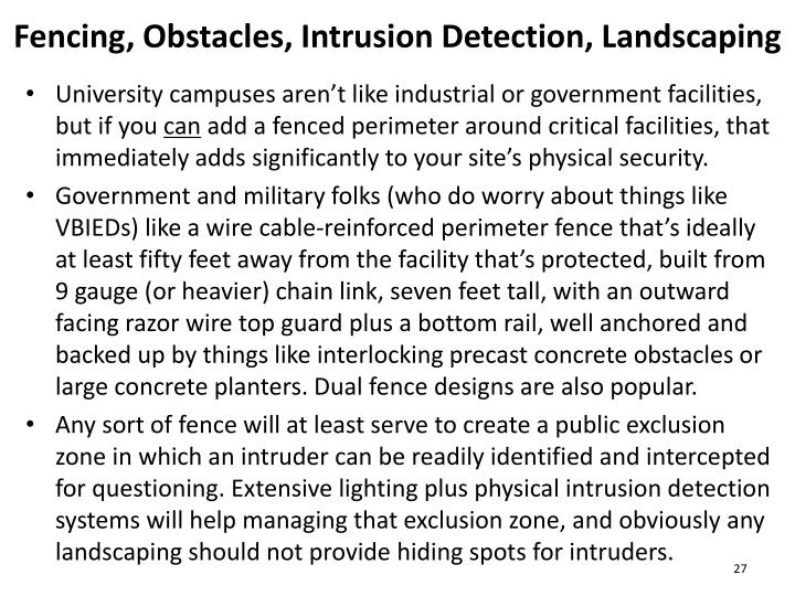 Fencing, Obstacles, Intrusion Detection, Landscaping