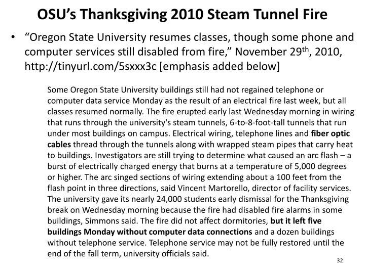 OSU's Thanksgiving 2010 Steam Tunnel Fire