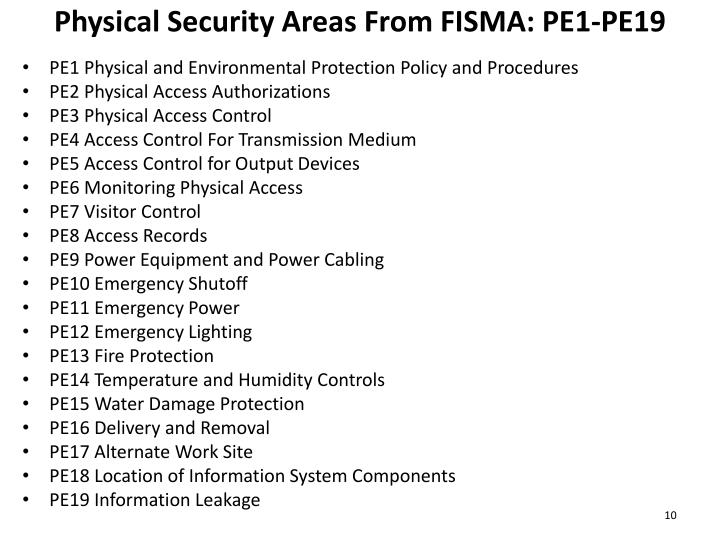 Physical Security Areas From FISMA: PE1-PE19