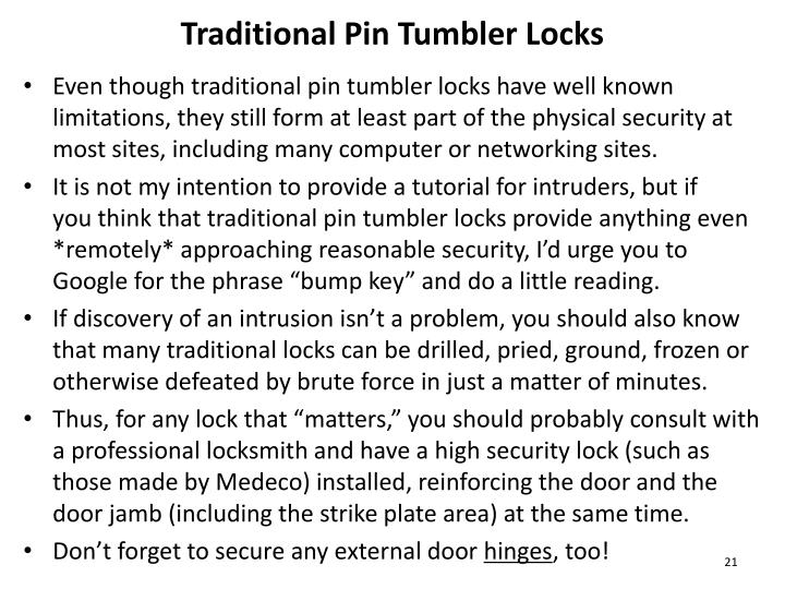 Traditional Pin Tumbler Locks