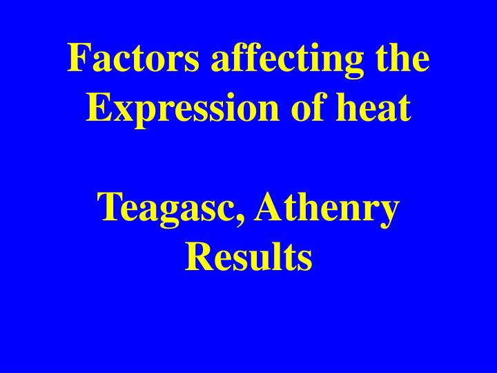 Factors affecting the Expression of heat