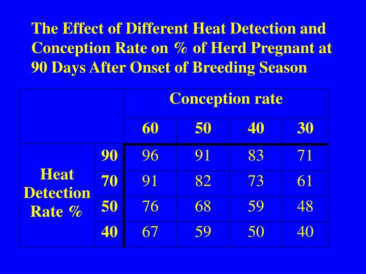 The Effect of Different Heat Detection and Conception Rate on % of Herd Pregnant at 90 Days After Onset of Breeding Season
