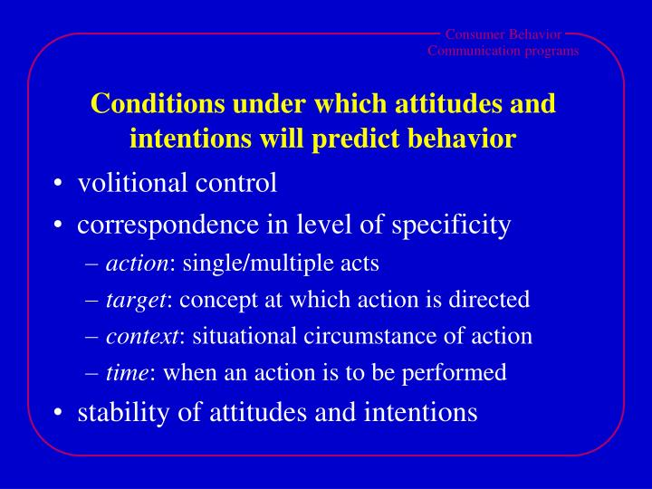 Conditions under which attitudes and intentions will predict behavior