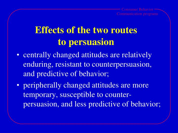 Effects of the two routes