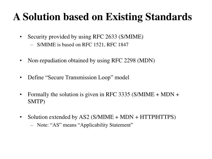 Security provided by using RFC 2633 (S/MIME)
