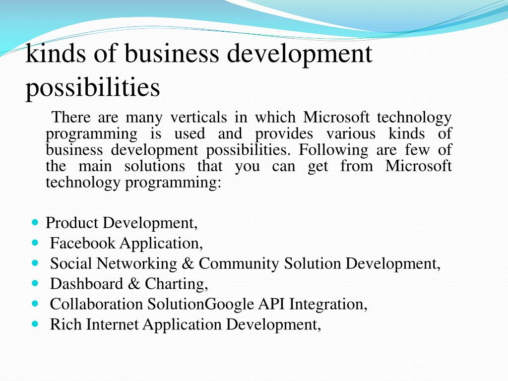 kinds of business development possibilities