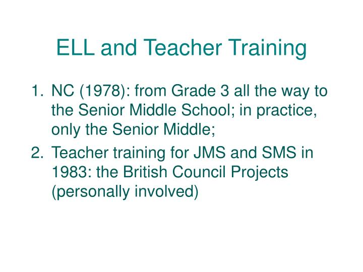 ELL and Teacher Training