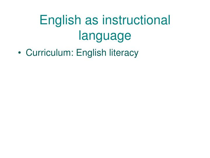 English as instructional language