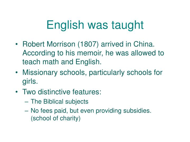 English was taught