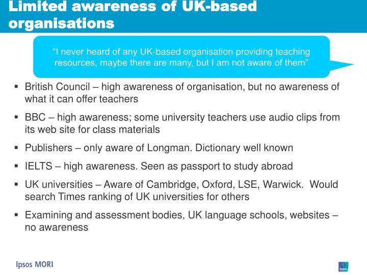 Limited awareness of UK-based organisations