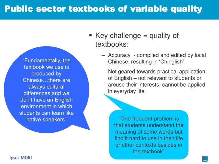 Public sector textbooks of variable quality