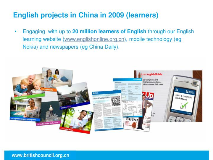 English projects in China in 2009 (learners)