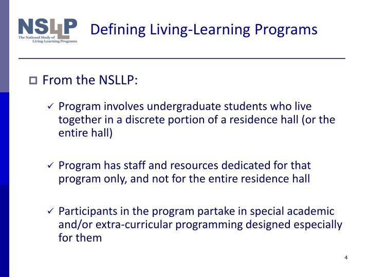 Defining Living-Learning Programs