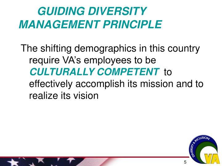 GUIDING DIVERSITY MANAGEMENT PRINCIPLE