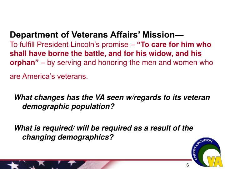 Department of Veterans Affairs' Mission—