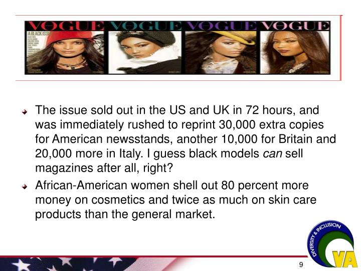 The issue sold out in the US and UK in 72 hours, and was immediately rushed to reprint 30,000 extra copies for American newsstands, another 10,000 for Britain and 20,000 more in Italy. I guess black models