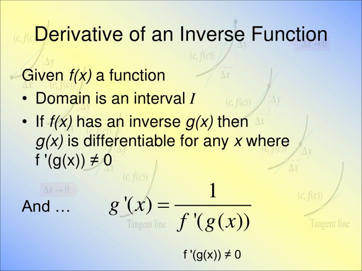 Derivative of an Inverse Function